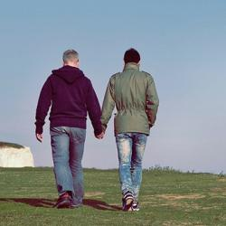 Gay couple walking together